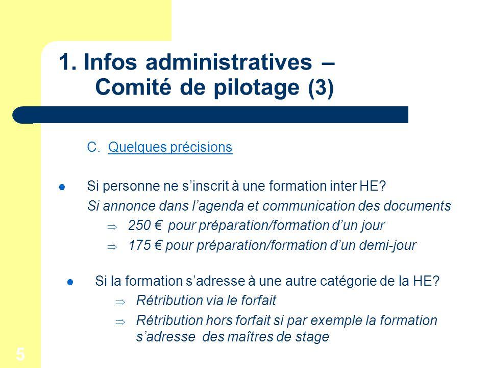 5 1. Infos administratives – Comité de pilotage (3) C.