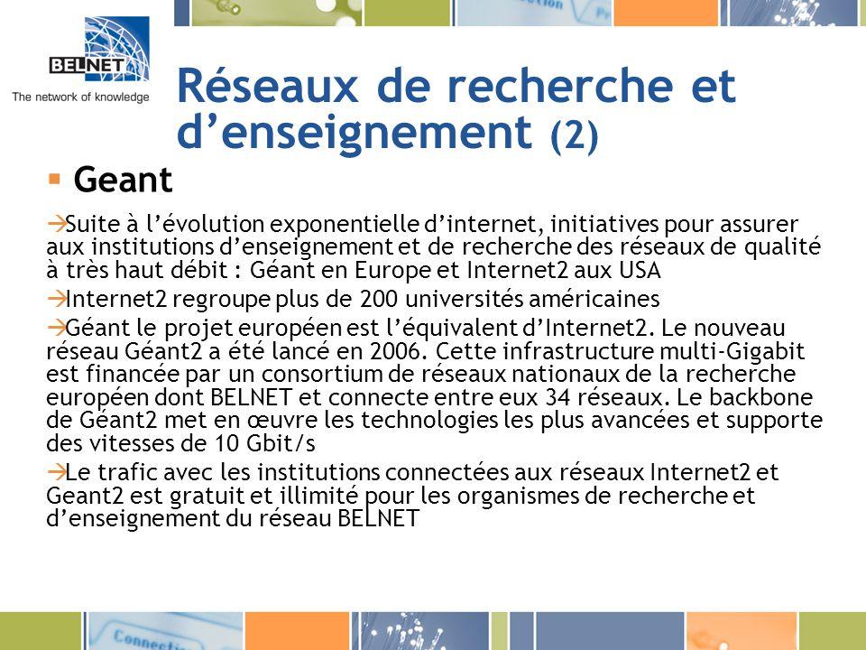 Réseaux de recherche et denseignement (2) Geant Suite à lévolution exponentielle dinternet, initiatives pour assurer aux institutions denseignement et