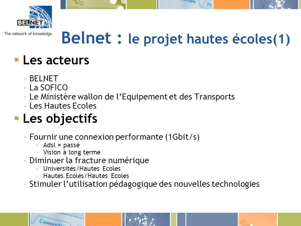 Belnet : le projet hautes écoles(1) Les acteurs -BELNET -La SOFICO -Le Ministère wallon de lEquipement et des Transports -Les Hautes Ecoles Les object