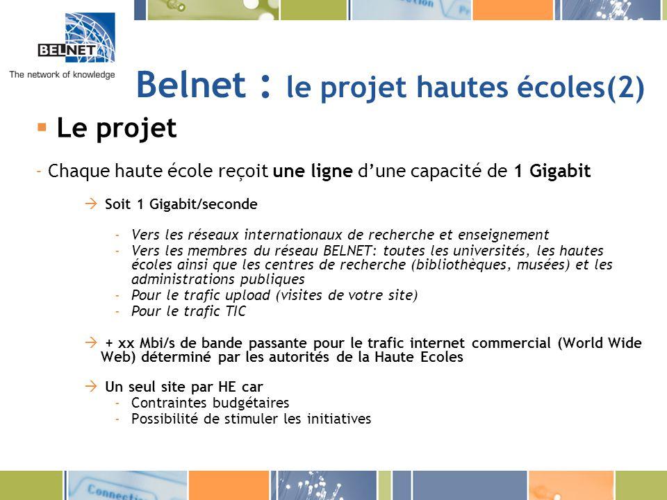 Belnet : le projet hautes écoles(2) Le projet - Chaque haute école reçoit une ligne dune capacité de 1 Gigabit Soit 1 Gigabit/seconde -Vers les réseau