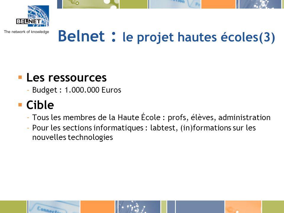 Belnet : le projet hautes écoles(3) Les ressources -Budget : 1.000.000 Euros Cible -Tous les membres de la Haute École : profs, élèves, administration