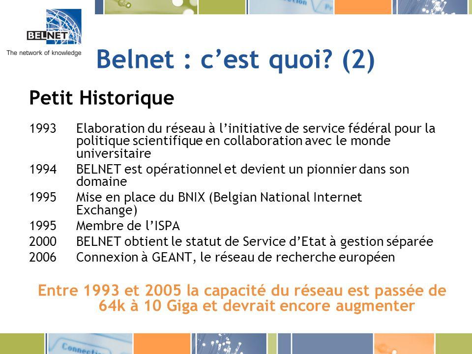 Belnet : cest quoi? (2) Petit Historique 1993Elaboration du réseau à linitiative de service fédéral pour la politique scientifique en collaboration av