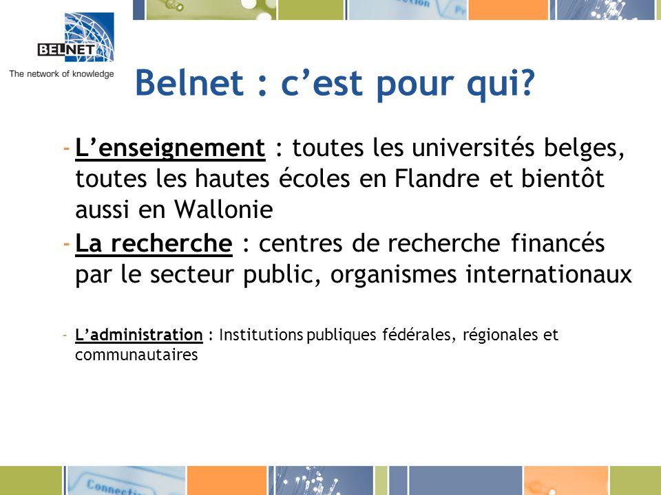 Belnet : le projet hautes écoles(5) Services destinés à la communauté de lenseignement Outils e-learning -Videoconférence, streaming, technologie multicast -Hébergement de plate-forme denseignement à distance Outils mobilité -Eduroam pour la mobilité des étudiants et des professeurs Outils de collaboration -Lignes louées virtuelles Outils de recherche -GRID Outils de sécurité -CERT belge