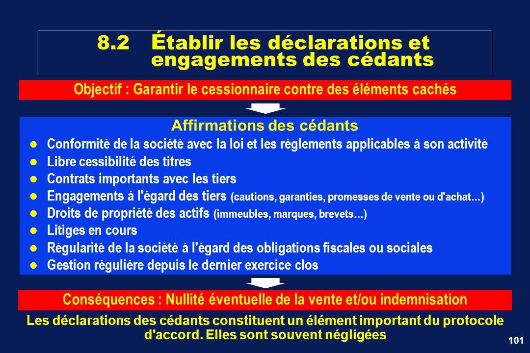 101 8.2 É tablir les déclarations et engagements des cédants Les déclarations des cédants constituent un élément important du protocole d'accord. Elle