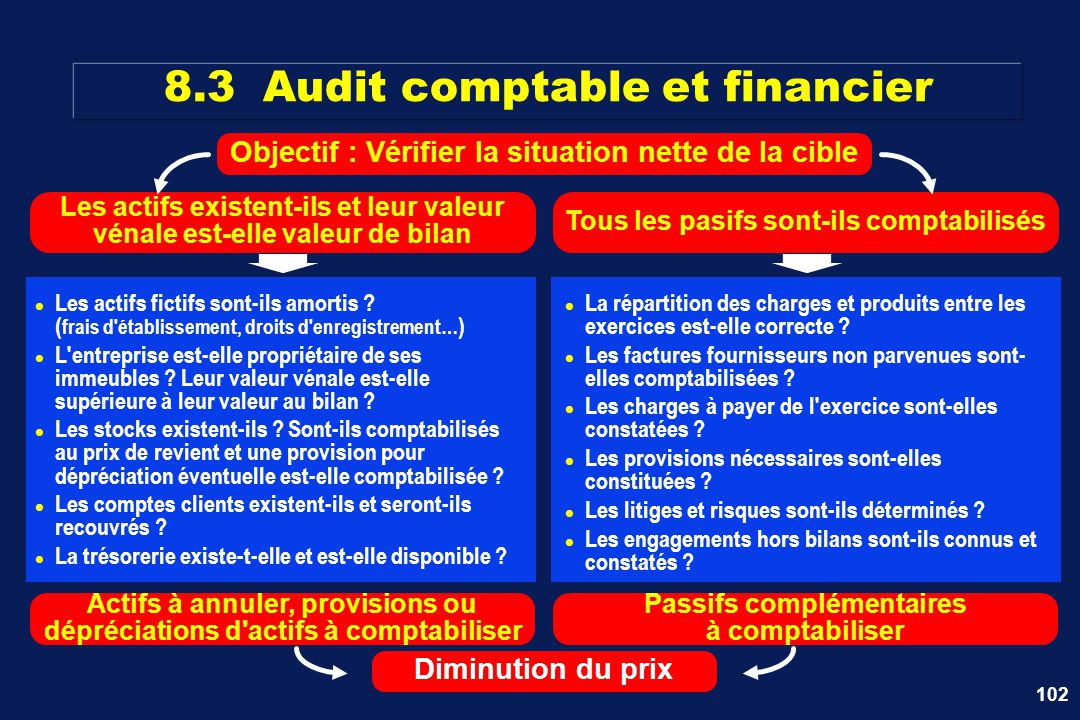 102 8.3 Audit comptable et financier Les actifs fictifs sont-ils amortis ? ( frais d'établissement, droits d'enregistrement… ) L'entreprise est-elle p