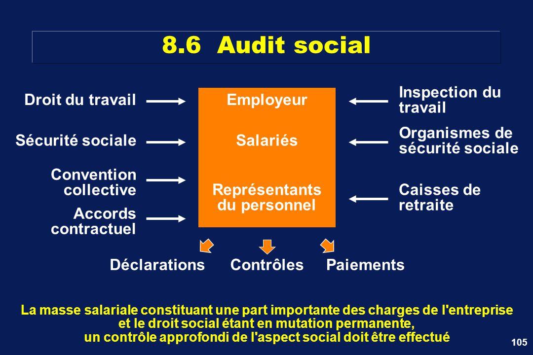 105 Employeur 8.6 Audit social La masse salariale constituant une part importante des charges de l'entreprise et le droit social étant en mutation per