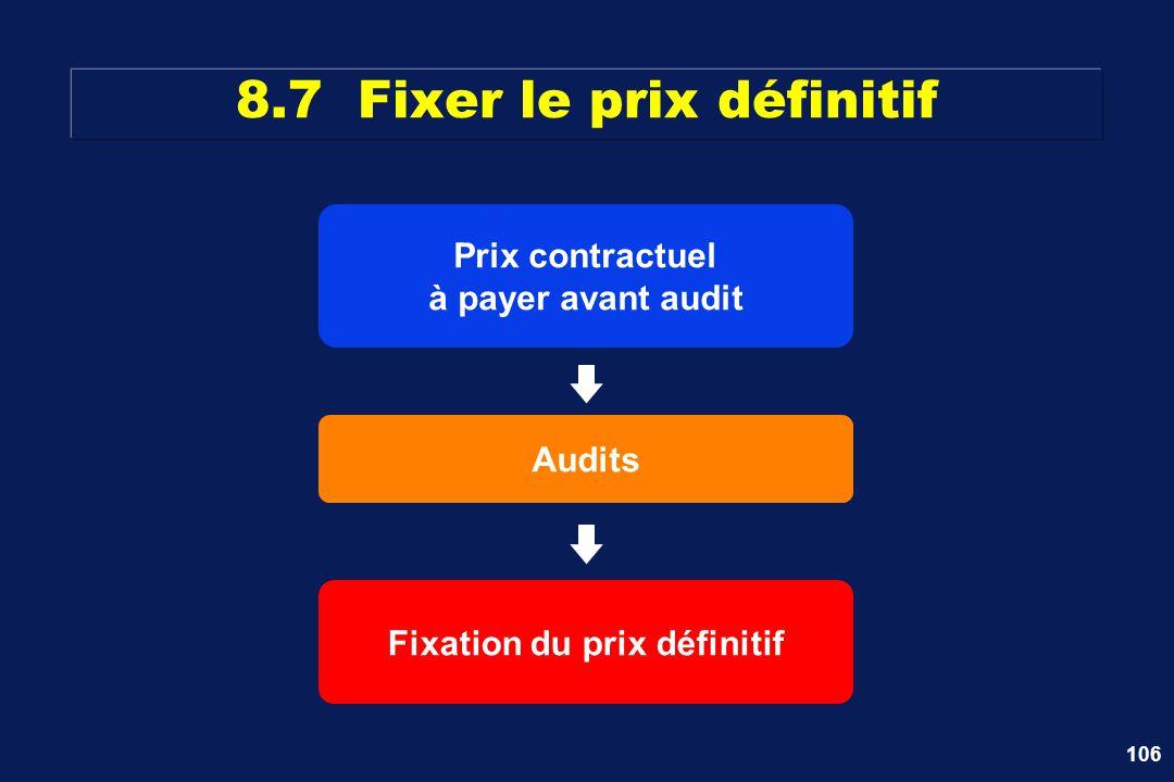 106 8.7 Fixer le prix définitif Prix contractuel à payer avant audit Audits Fixation du prix définitif