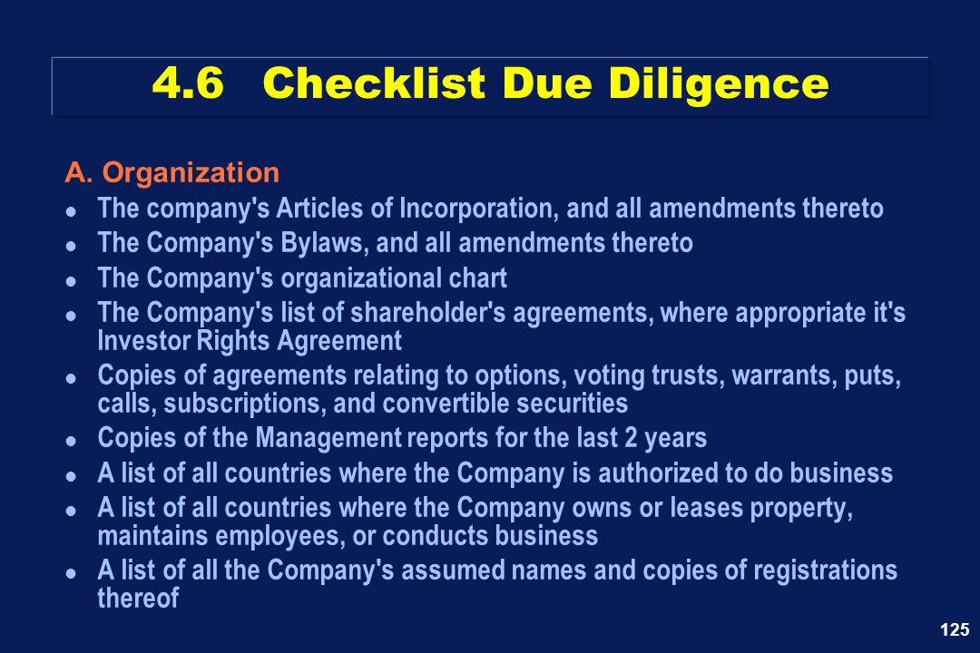 125 A. Organization l The company's Articles of Incorporation, and all amendments thereto l The Company's Bylaws, and all amendments thereto l The Com