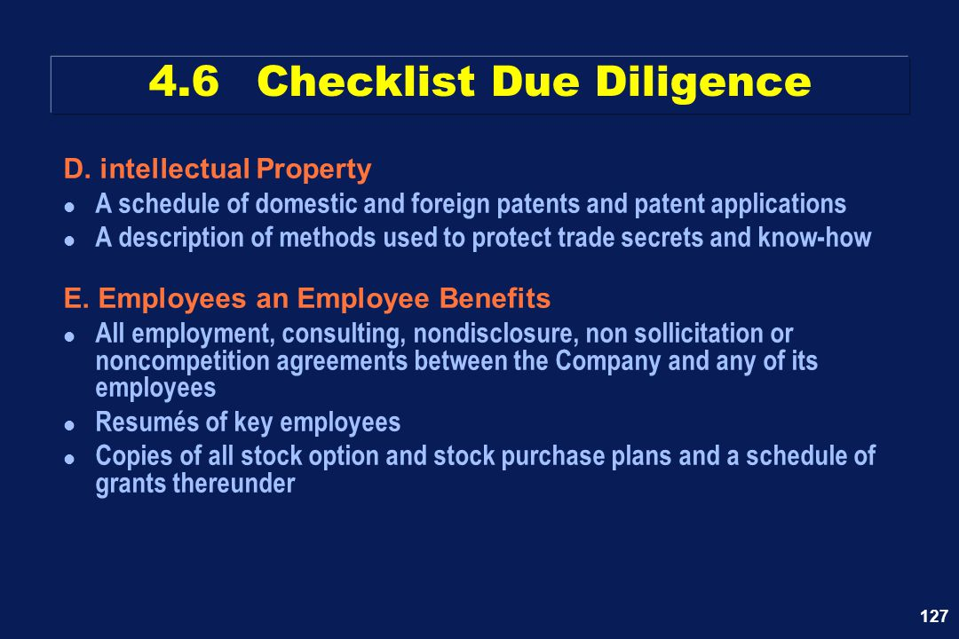 127 D. intellectual Property l A schedule of domestic and foreign patents and patent applications l A description of methods used to protect trade sec