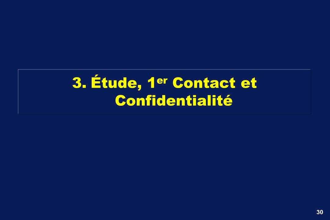30 3.Étude, 1 er Contact et Confidentialité
