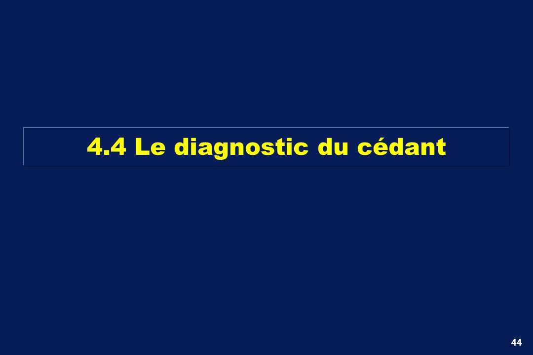 44 4.4 Le diagnostic du cédant