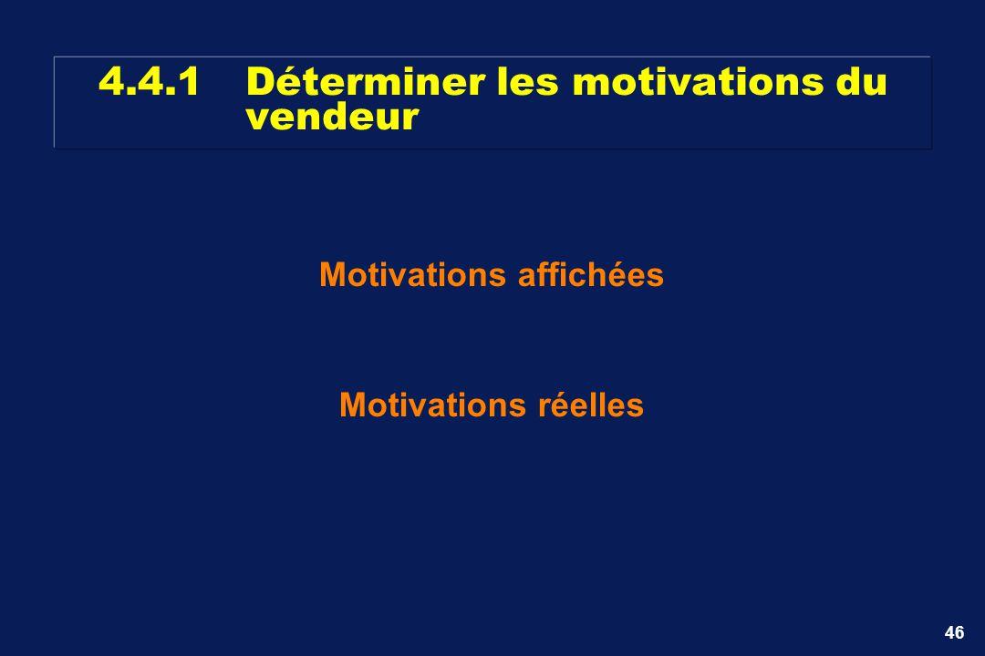 46 4.4.1Déterminer les motivations du vendeur Motivations affichées Motivations réelles