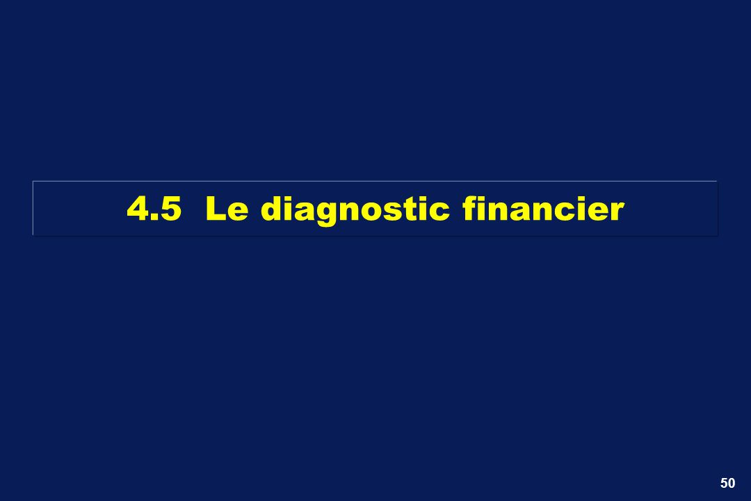 50 4.5 Le diagnostic financier