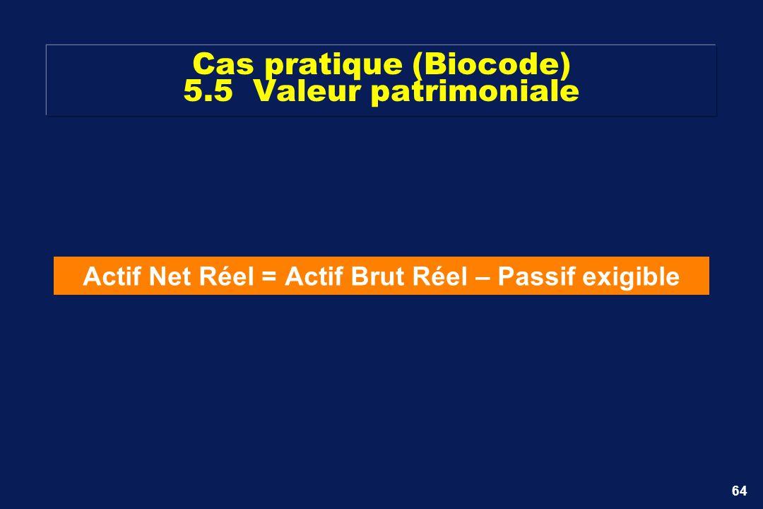 64 Cas pratique (Biocode) 5.5 Valeur patrimoniale Actif Net Réel = Actif Brut Réel – Passif exigible