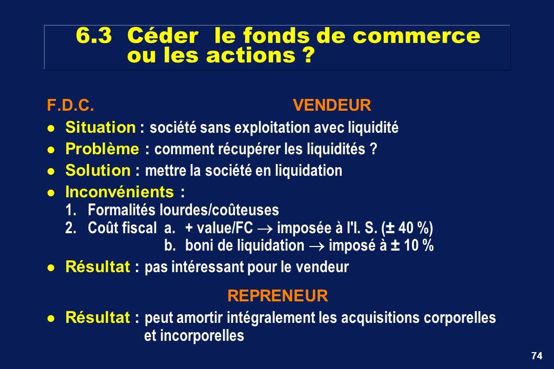 74 6.3 Céder le fonds de commerce ou les actions ? F.D.C.VENDEUR Situation : société sans exploitation avec liquidité Problème : comment récupérer les