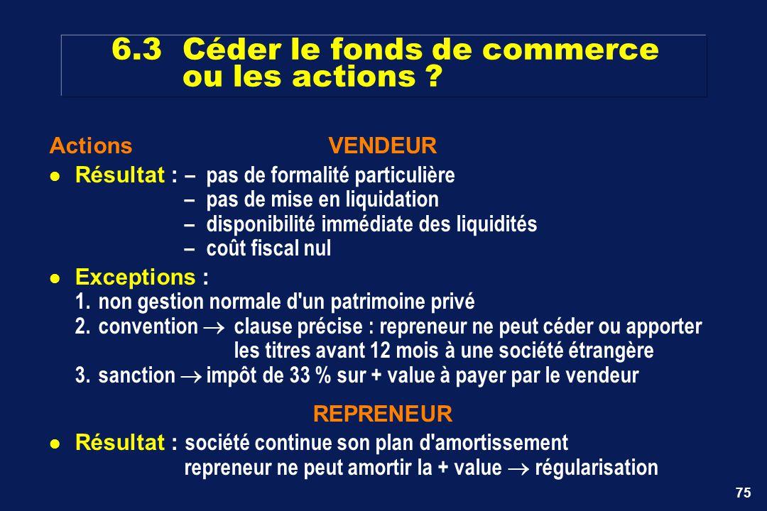 75 ActionsVENDEUR Résultat : –pas de formalité particulière –pas de mise en liquidation –disponibilité immédiate des liquidités –coût fiscal nul Excep