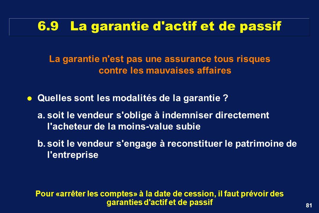 81 La garantie n'est pas une assurance tous risques contre les mauvaises affaires Pour «arrêter les comptes» à la date de cession, il faut prévoir des