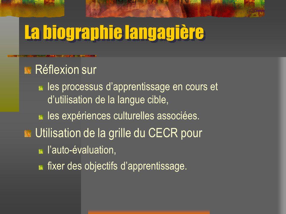 La biographie langagière Réflexion sur les processus dapprentissage en cours et dutilisation de la langue cible, les expériences culturelles associées