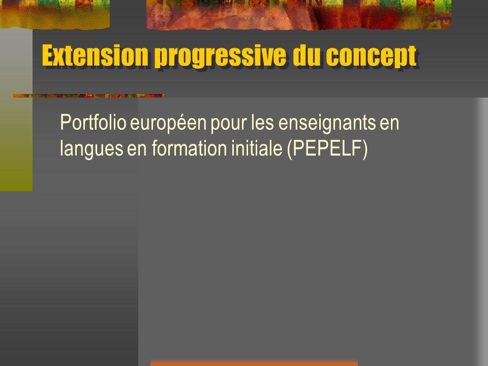 Extension progressive du concept Portfolio européen pour les enseignants en langues en formation initiale (PEPELF)