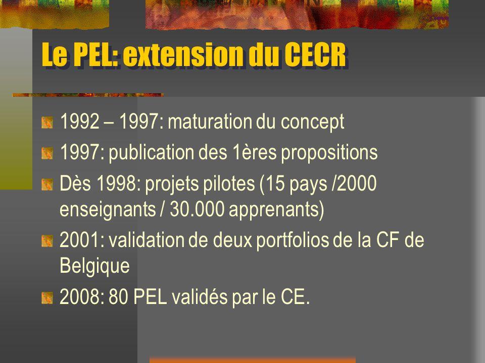 Le PEL: extension du CECR 1992 – 1997: maturation du concept 1997: publication des 1ères propositions Dès 1998: projets pilotes (15 pays /2000 enseign