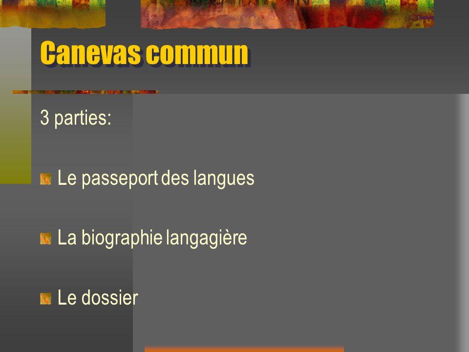 Canevas commun 3 parties: Le passeport des langues La biographie langagière Le dossier