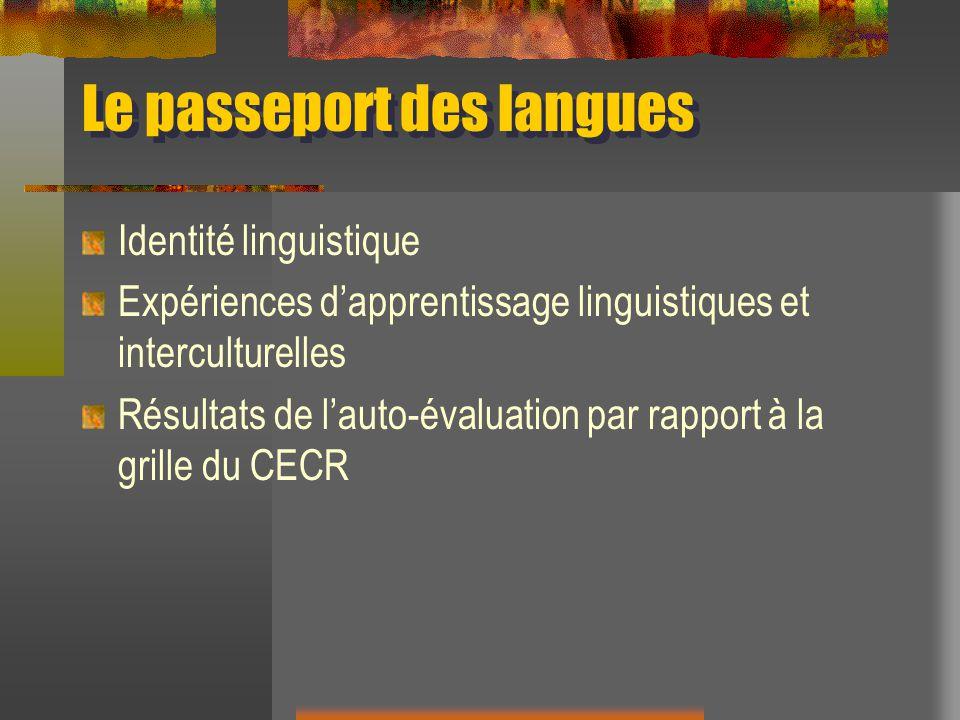Le passeport des langues Identité linguistique Expériences dapprentissage linguistiques et interculturelles Résultats de lauto-évaluation par rapport