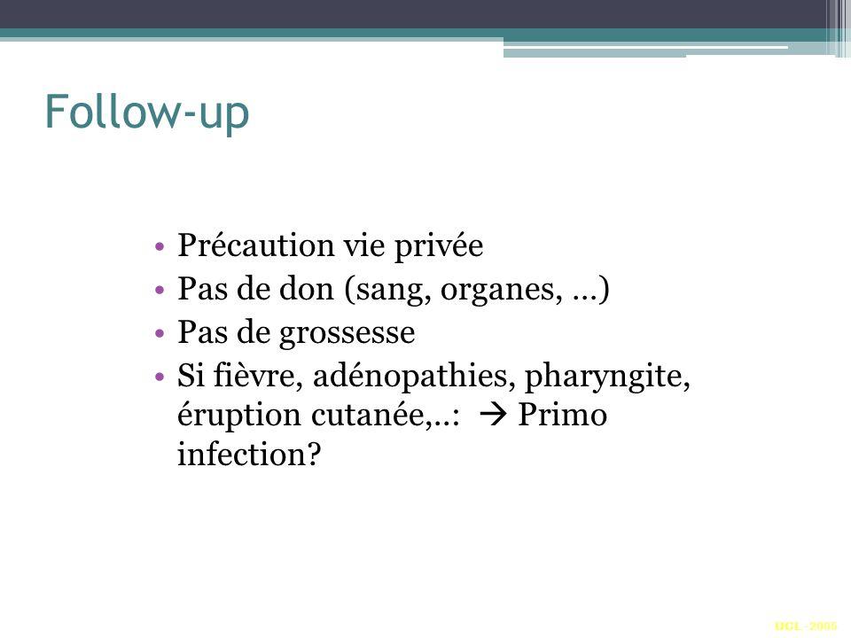 Follow-up Précaution vie privée Pas de don (sang, organes, …) Pas de grossesse Si fièvre, adénopathies, pharyngite, éruption cutanée,..: Primo infection.