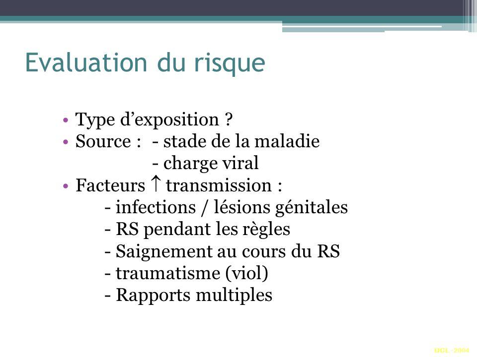 Evaluation du risque Type dexposition ? Source : - stade de la maladie - charge viral Facteurs transmission : - infections / lésions génitales - RS pe