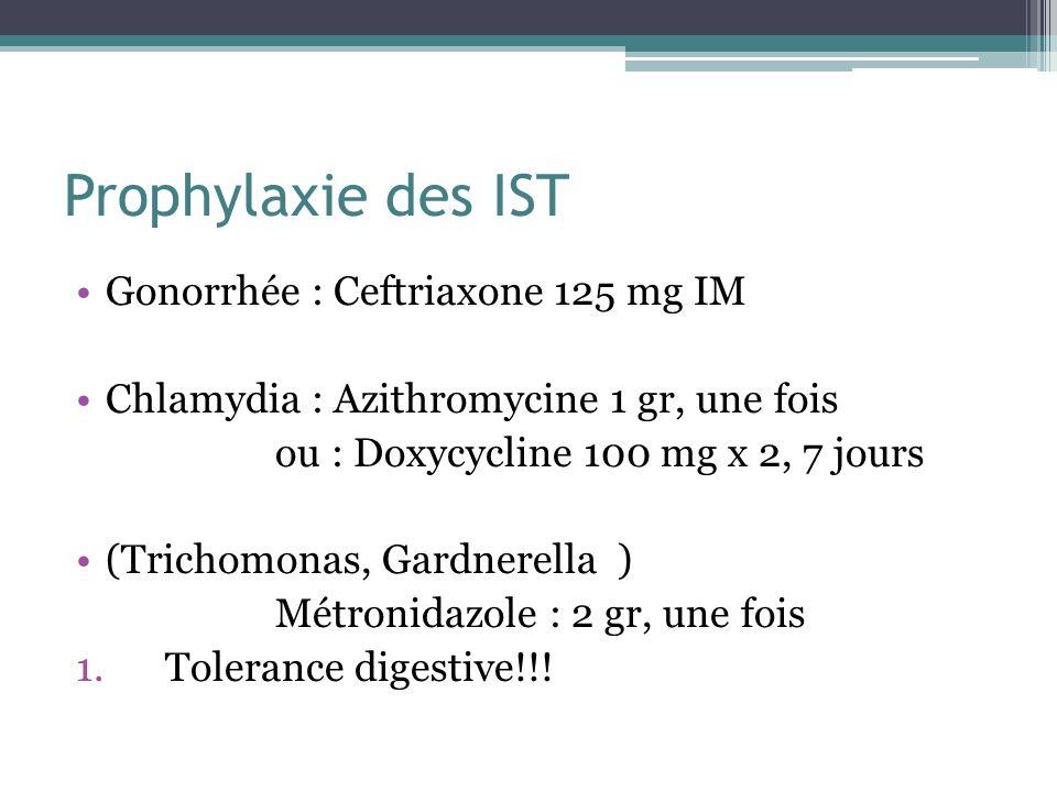 Prophylaxie des IST Gonorrhée : Ceftriaxone 125 mg IM Chlamydia : Azithromycine 1 gr, une fois ou : Doxycycline 100 mg x 2, 7 jours (Trichomonas, Gard