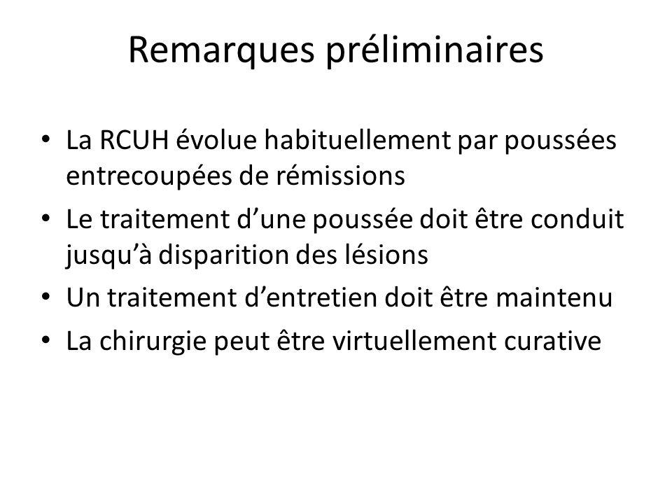 Remarques préliminaires La RCUH évolue habituellement par poussées entrecoupées de rémissions Le traitement dune poussée doit être conduit jusquà disparition des lésions Un traitement dentretien doit être maintenu La chirurgie peut être virtuellement curative