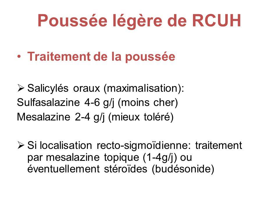 Poussée légère de RCUH Traitement de la poussée Salicylés oraux (maximalisation): Sulfasalazine 4-6 g/j (moins cher) Mesalazine 2-4 g/j (mieux toléré) Si localisation recto-sigmoïdienne: traitement par mesalazine topique (1-4g/j) ou éventuellement stéroïdes (budésonide)