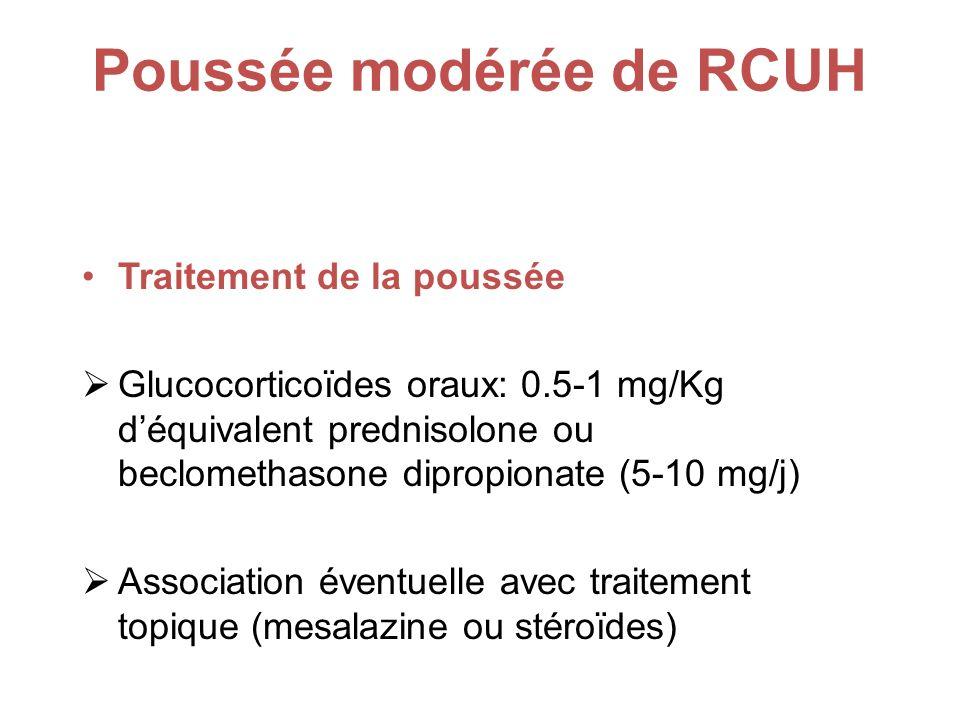 Poussée modérée de RCUH Traitement de la poussée Glucocorticoïdes oraux: 0.5-1 mg/Kg déquivalent prednisolone ou beclomethasone dipropionate (5-10 mg/j) Association éventuelle avec traitement topique (mesalazine ou stéroïdes)