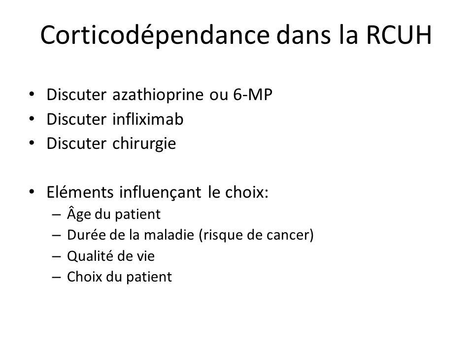 Corticodépendance dans la RCUH Discuter azathioprine ou 6-MP Discuter infliximab Discuter chirurgie Eléments influençant le choix: – Âge du patient – Durée de la maladie (risque de cancer) – Qualité de vie – Choix du patient
