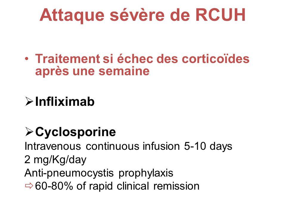 Attaque sévère de RCUH Traitement si échec des corticoïdes après une semaine Infliximab Cyclosporine Intravenous continuous infusion 5-10 days 2 mg/Kg/day Anti-pneumocystis prophylaxis 60-80% of rapid clinical remission