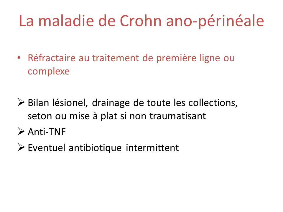 La maladie de Crohn ano-périnéale Réfractaire au traitement de première ligne ou complexe Bilan lésionel, drainage de toute les collections, seton ou mise à plat si non traumatisant Anti-TNF Eventuel antibiotique intermittent