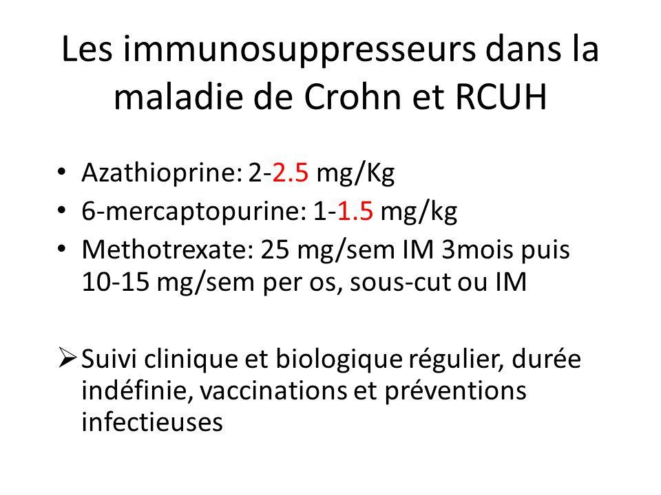 Les immunosuppresseurs dans la maladie de Crohn et RCUH Azathioprine: 2-2.5 mg/Kg 6-mercaptopurine: 1-1.5 mg/kg Methotrexate: 25 mg/sem IM 3mois puis 10-15 mg/sem per os, sous-cut ou IM Suivi clinique et biologique régulier, durée indéfinie, vaccinations et préventions infectieuses