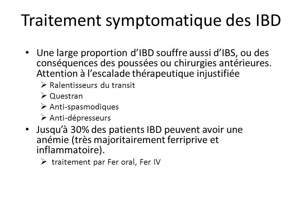 Traitement symptomatique des IBD Une large proportion dIBD souffre aussi dIBS, ou des conséquences des poussées ou chirurgies antérieures.
