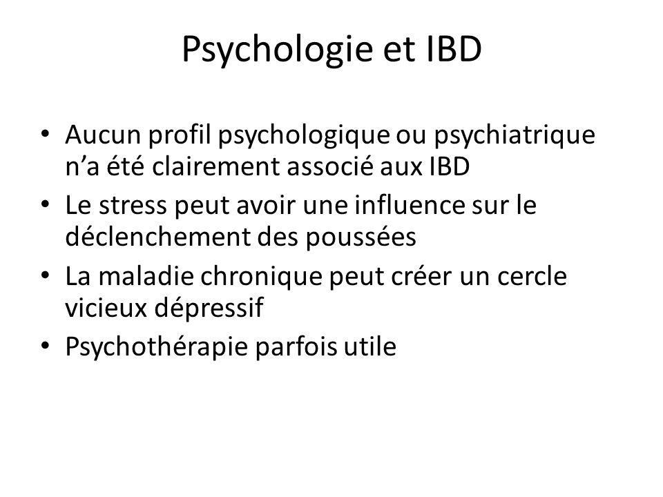 Psychologie et IBD Aucun profil psychologique ou psychiatrique na été clairement associé aux IBD Le stress peut avoir une influence sur le déclenchement des poussées La maladie chronique peut créer un cercle vicieux dépressif Psychothérapie parfois utile