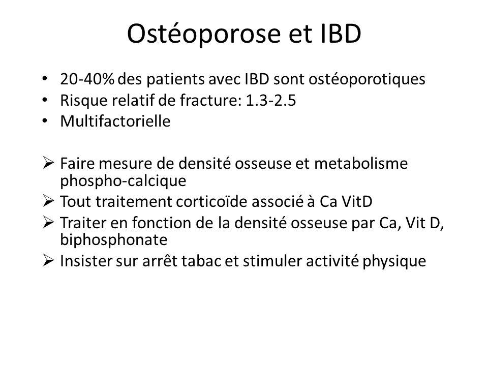Ostéoporose et IBD 20-40% des patients avec IBD sont ostéoporotiques Risque relatif de fracture: 1.3-2.5 Multifactorielle Faire mesure de densité osseuse et metabolisme phospho-calcique Tout traitement corticoïde associé à Ca VitD Traiter en fonction de la densité osseuse par Ca, Vit D, biphosphonate Insister sur arrêt tabac et stimuler activité physique