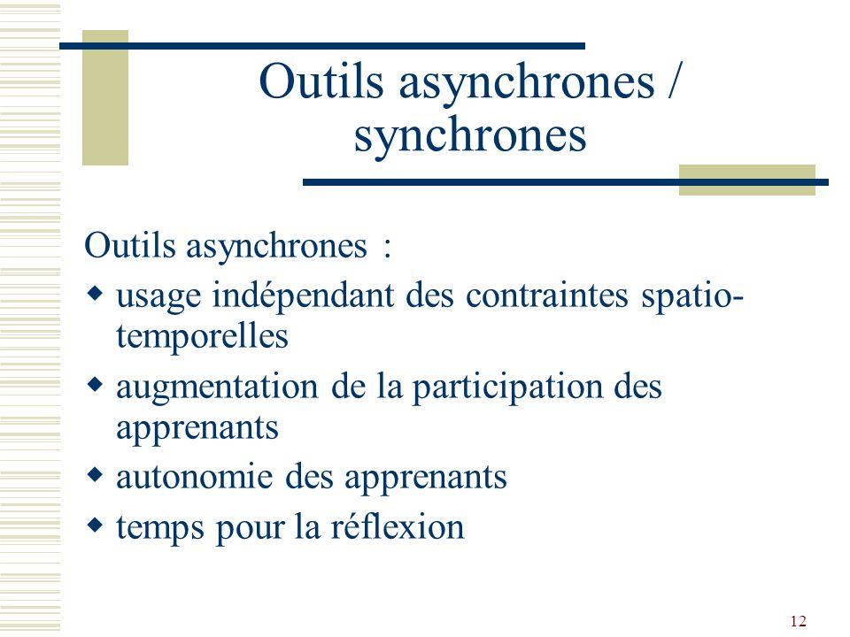 13 Outils asynchrones / synchrones Outils synchrones : échanges plus naturels échange de l image ou partage de tâche aide à la prise de décision (organisation de la prise de parole)