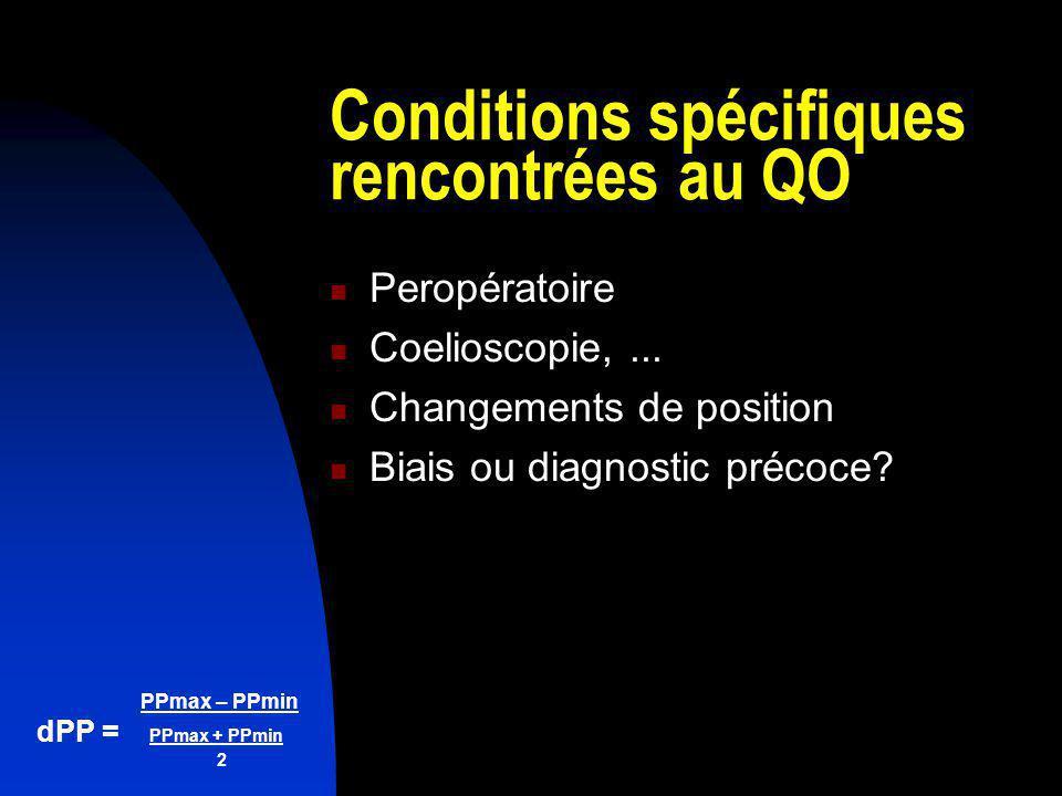 PPmax – PPmin dPP = PPmax + PPmin 2 Conditions spécifiques rencontrées au QO Peropératoire Coelioscopie,... Changements de position Biais ou diagnosti