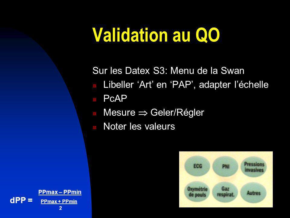 PPmax – PPmin dPP = PPmax + PPmin 2 Validation au QO Sur les Datex S3: Menu de la Swan Libeller Art en PAP, adapter léchelle PcAP Mesure Geler/Régler