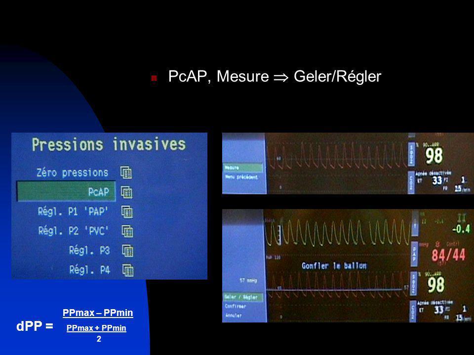 PPmax – PPmin dPP = PPmax + PPmin 2 PcAP, Mesure Geler/Régler