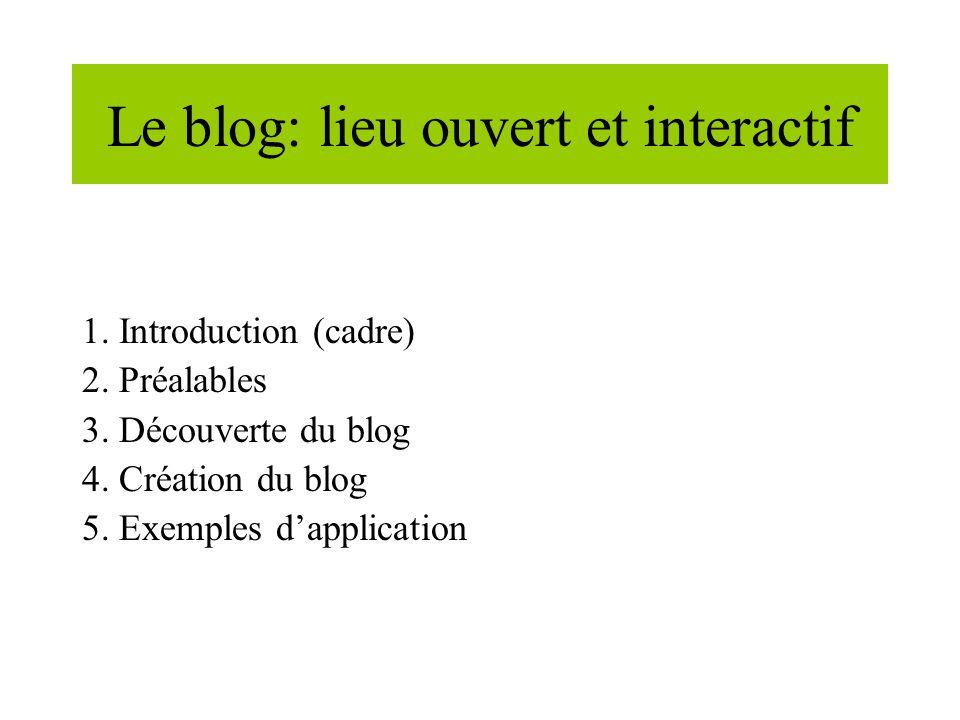 Le blog: lieu ouvert et interactif 1. Introduction (cadre) 2.
