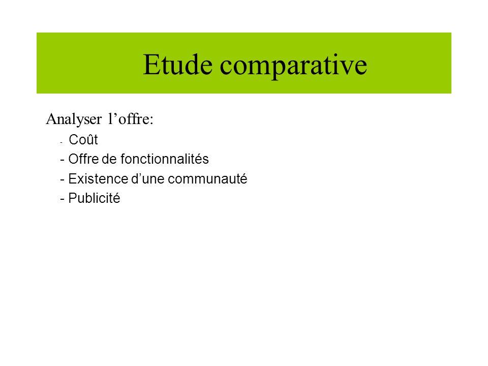 Etude comparative Analyser loffre: - Coût - Offre de fonctionnalités - Existence dune communauté - Publicité