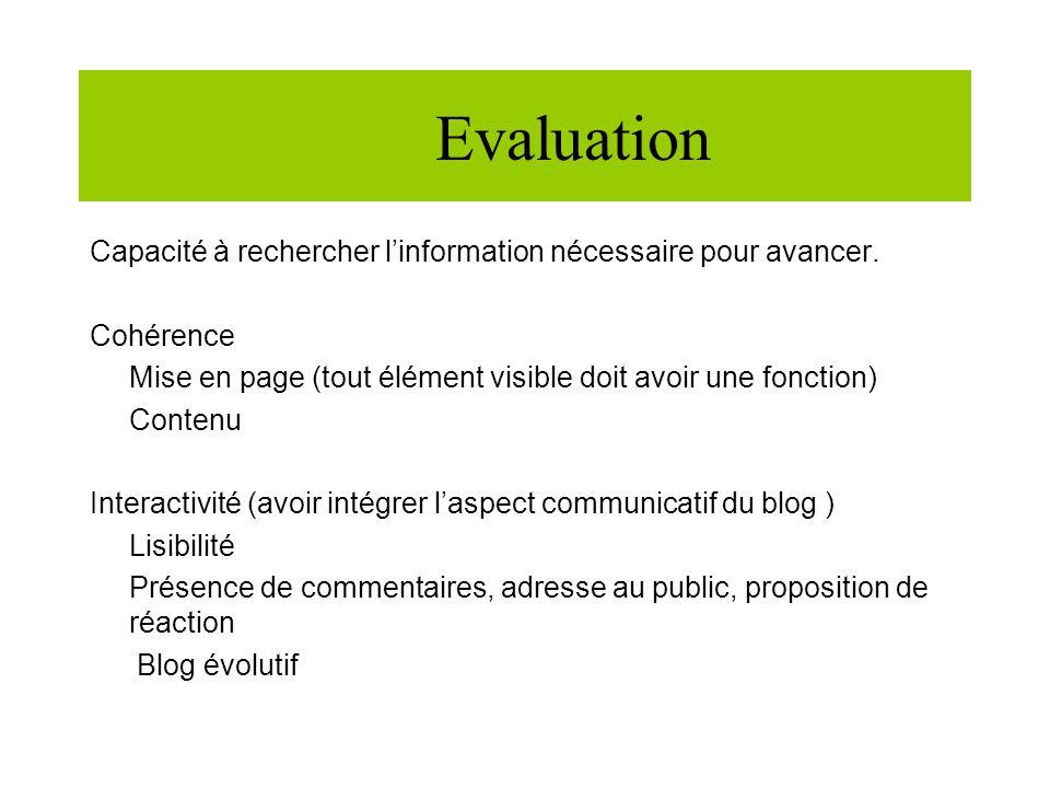 Evaluation Capacité à rechercher linformation nécessaire pour avancer.