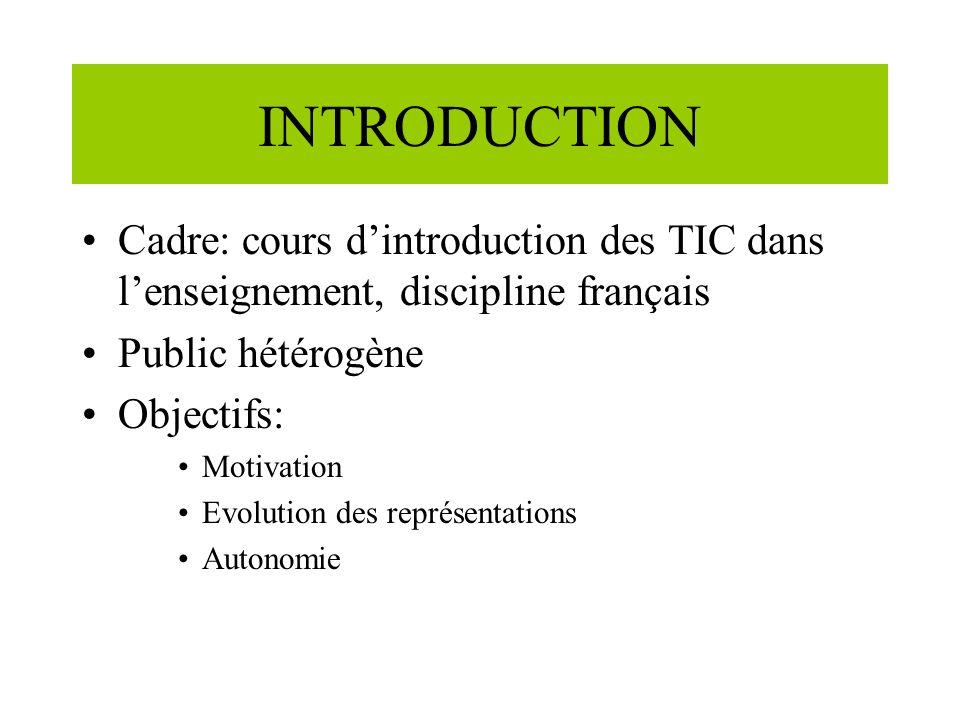 INTRODUCTION Cadre: cours dintroduction des TIC dans lenseignement, discipline français Public hétérogène Objectifs: Motivation Evolution des représentations Autonomie