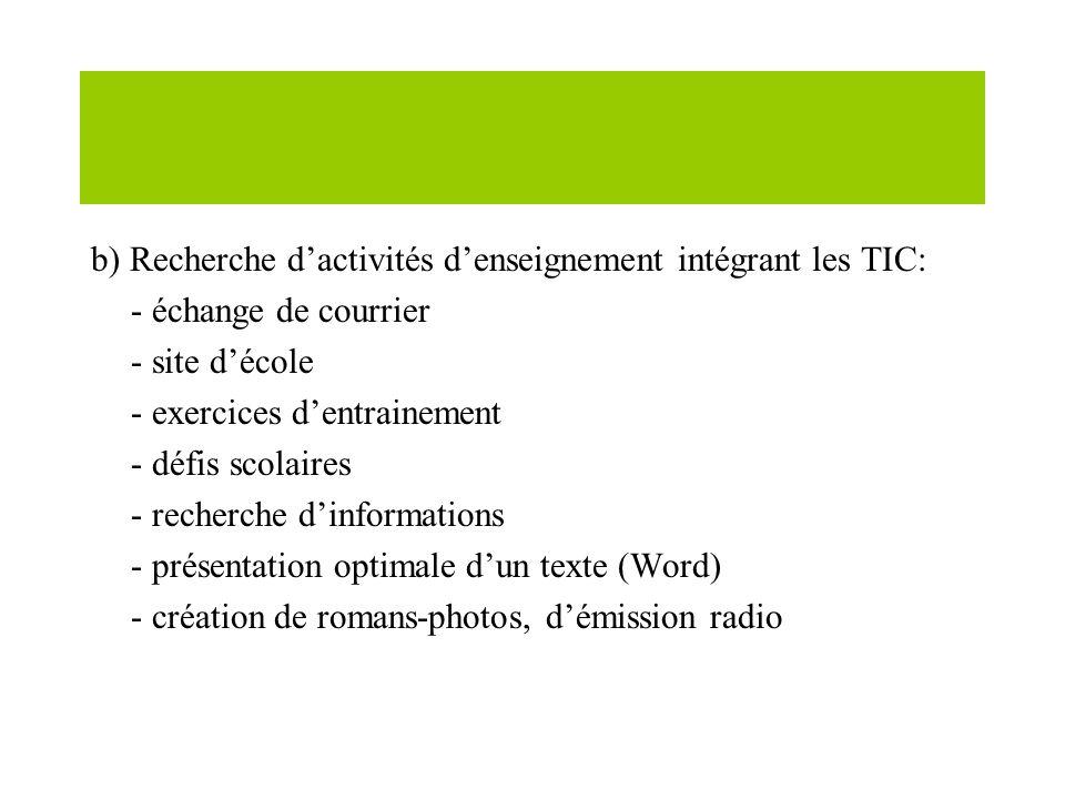 b) Recherche dactivités denseignement intégrant les TIC: - échange de courrier - site décole - exercices dentrainement - défis scolaires - recherche dinformations - présentation optimale dun texte (Word) - création de romans-photos, démission radio