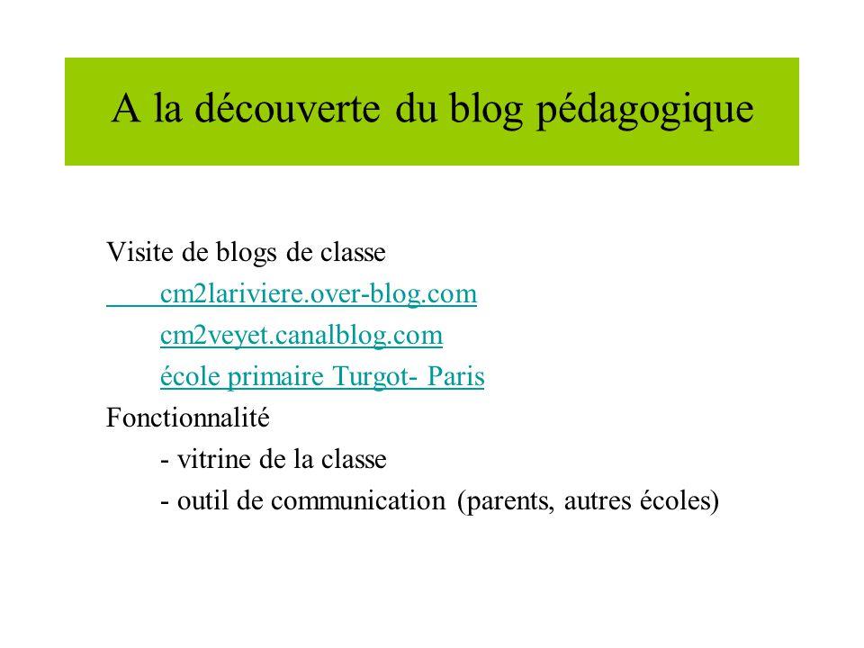 A la découverte du blog pédagogique Visite de blogs de classe cm2lariviere.over-blog.com cm2veyet.canalblog.com école primaire Turgot- Paris Fonctionnalité - vitrine de la classe - outil de communication (parents, autres écoles)
