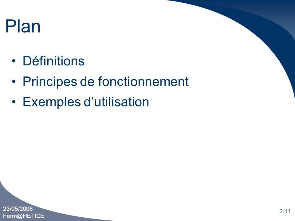 23/05/2006 Form@HETICE 2/11 Plan Définitions Principes de fonctionnement Exemples dutilisation